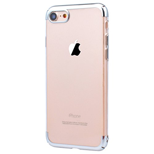 Yokata Coque iPhone 7 Plus (5.5 pouces) Housse Étui Protection PC Bumper en Electro Placage Etui Apple iPhone 7 Plus Ultra Mince Clair Transparent Case Back Cover Dur Rigide Anti Rayures Housse de Pro Argent