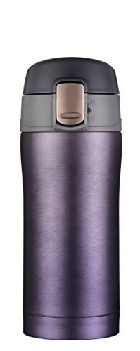 Kooyi Taza de café de viaje 250ml (8.5 Oz), Termo acero inoxidable BPA-free, 100% a prueba de fugas (Azul y púrpura)