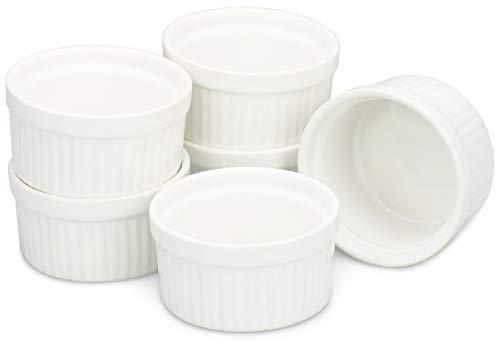 COM-FOUR® 6 Les bols Ragout Fin dans un plat de cuisson blanc allant au four comme moules à soufflé, moules à tartes, par exemple pour la crème brûlée (06 pièces)