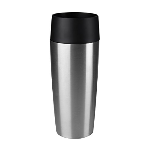 Emsa Isolierbecher Mobil genießen 360 ml Quick Press Verschluss Travel Mug -Silber (Edelstahl gebürstet)
