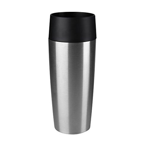 emsa 515618 Emsa Isolierbecher Mobil genießen 360 ml Quick Press Verschluss Travel Mug -Silber (Edelstahl gebürstet)