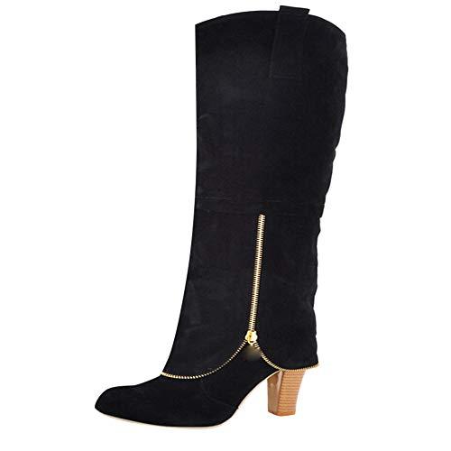 Stiefeletten Damen Schuhe ABsoar Boots Steampunk Lederstiefel Vintage Frauen Schnürer Langschaftstiefel Militärische Kampfstiefel Winter Bequem Niedriger High Heels Overknee Stiefel
