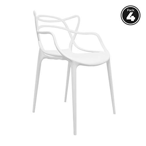 RegalosMiguel - Packs Sillas Jardín - Pack 4 Sillas Korme - Blanco