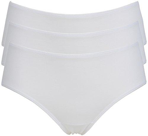 Jockey Cotone di Alta Taglio gamba Midi stile breve 3 Pack White