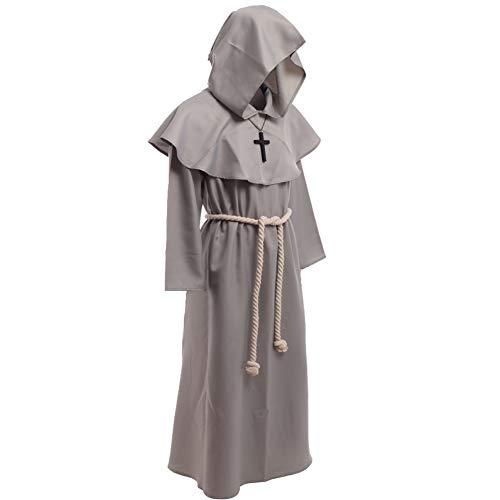 BLESSUME Disfraces de Monje Sacerdote Túnica Fraile Medieval Capucha Encapuchado Monje Renacimiento Túnica Disfraz (S, Gray)