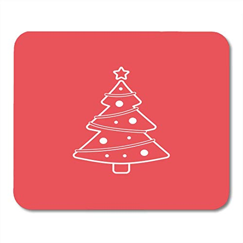 Deglogse Gaming-Mauspad-Matte, Celebrate White Silhouette Christmas Tree Line on Red Beautiful Celebration Mouse Pad,Desktop Computers Mouse Mats, -