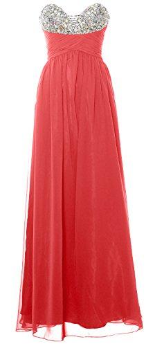 MACloth Women Strapless Long Prom Dress Classic Chiffon Formal Evening Gown Wassermelone