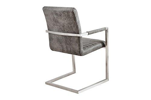freischwinger stuhl imperial vintage grau mit gepolsterten armlehnen und edelstahlgestell. Black Bedroom Furniture Sets. Home Design Ideas