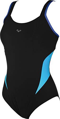ARENA Makimurax Low C Cup One Piece Swimsuit Damen Black-Bright Blue-Turquoise Größe DE 48 | US 44 2020 Schwimmanzug