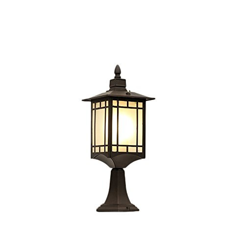 Aluminiumdruckguss Gehäuse Glassäule Laterne Licht Im Freien Wasserdichte IP55 Außenpfosten Lampe Dekorative Garten Open Air Patio Deck Traditionelle Säule Licht (Größe : Style C) -
