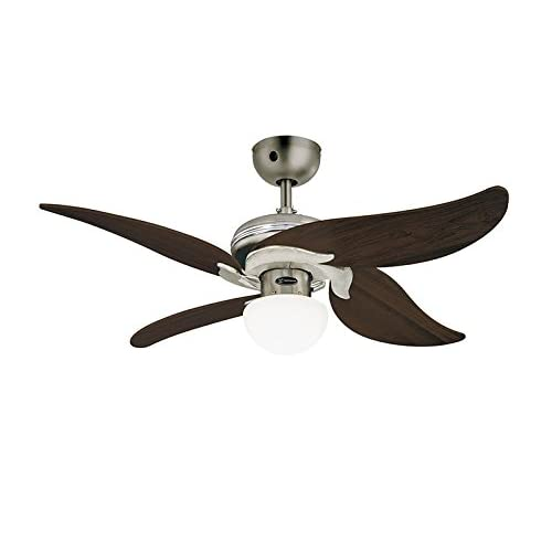 31If7GjbqaL. SS500  - Westinghouse Ceiling Fans 72368 Jasmine One-Light 105 cm Four-Blade Indoor Ceiling Fan, Dark Pewter/Chrome Finish with Mushroom Glass