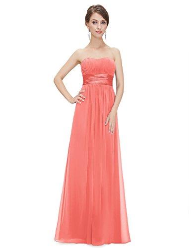 Ever Pretty Damen Empire Taille Schulterfrei Lange Abendkleider 09955 Korallenrot