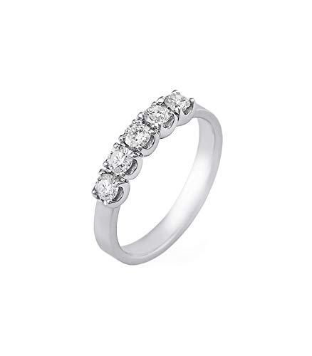 Gioielli di valenza anello veretta a 5 pietre in oro bianco 18k con diamanti ct. 0,50-12