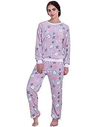 19858921e90 ICABLE Women s Regular Comfort Fit Full Sleeves Winter Wear Shearing Velvet  Top and Pyjama Set