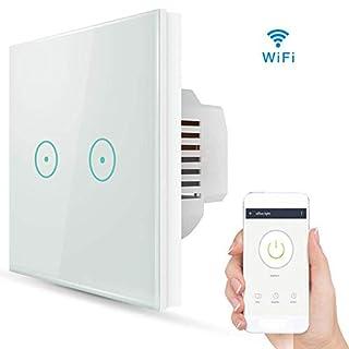 WLAN Smart Lichtschalter, Queta WiFi Funk Touchscreen Wandschalter Kompatibel mit Alexa und Google Home, APP-Fernbedienung, Timing-Funktion