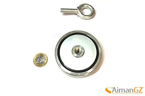 1superiman mit Haken, 75mm Durchmesser x 16mm dick–200kg Kraft zum Angeln mit Magneten