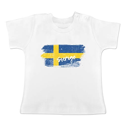 Fußball-Weltmeisterschaft 2018 - Baby - Schweden Vintage - 12-18 Monate - Weiß -...