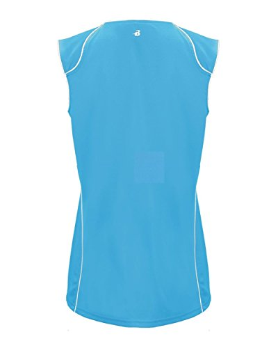 "HIPI GOX Badger 6172 B-Core Ladies ""Curve"" Contrast Piping Athletic Jersey Columbia Blue/ White"
