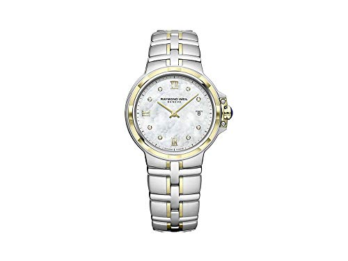 Montre à Quartz Raymond Weil Parsifal Ladies, PVD Or, Nacre, Jour, 8 Diamants