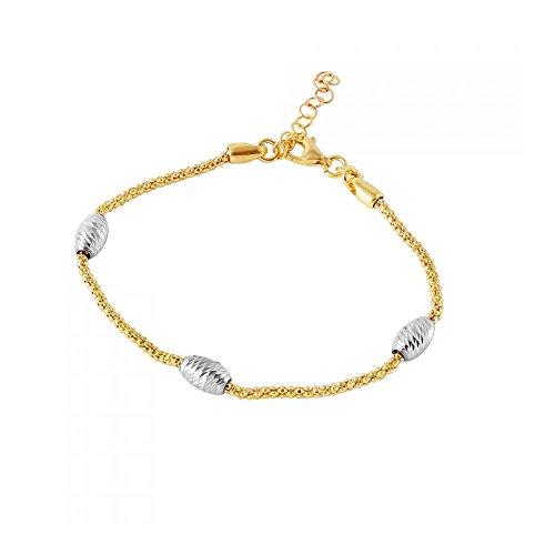bracelet-plaque-or-argent-sterling-chaine-pop-corn-italien-accents-perles-ovales