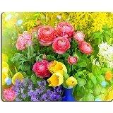 luxlady Gaming Mousepad Bild-ID: 39171376Spring Flowers raninculus Campanula Forsythien Tulpen Retro Stil straffen Bild mit Licht fleaks und