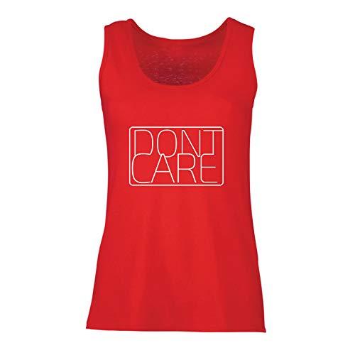 (lepni.me Damen Tank-Top Ich interessiere Mich Nicht - lustige sarkastische Zitate, Bauernhaus Style Shirt (X-Large Rot Mehrfarben))