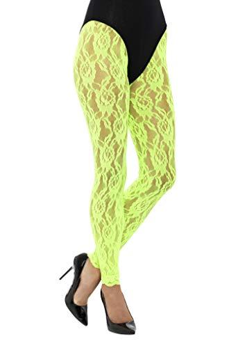 Smiffys Damen 80er Jahre Spitzen Leggings, One Size, Neon Grün, 45160