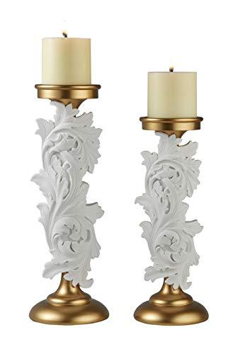 OK Lighting Alba Flora Kerzenhalter, 30,5 cm/35,6 cm, Weiß, Gold, 2 Stück -