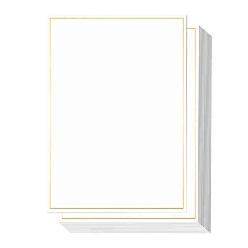 (50Stück Metallic Gold Folie Bordüre Einladung Papier–Zertifikate, Ankündigungen, persönliche Nachrichten, Auszeichnungen, Briefpapier, Umschläge enthalten–12,7x 17,8cm)