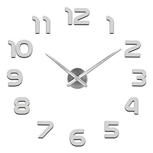 Soledi orologio da parete silenzioso preciso fai da te 60-120cm facile da montare effetto 3d riempire vuoto parete moderno adesivo orologio parete decorazione per casa, ufficio, hotel (argento/nero)