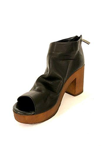 Sandali tacco alto J1313 in pelle nero open toe plateau zip MainApps Nero