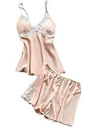 Luckycat Lenceria Erotica de Mujer Conjuntos de Lencería Mujer Erótico Tentación Ropa Interior de Encaje Sexy Ropa de Dormir Tirantes Babydoll Pijama de Dos Piezas Chaleco + Pantalones Cortos