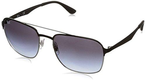 Ray-Ban RAYBAN Unisex-Erwachsene Sonnenbrille 3570 Silver Top Black/Gradientgrey, 58