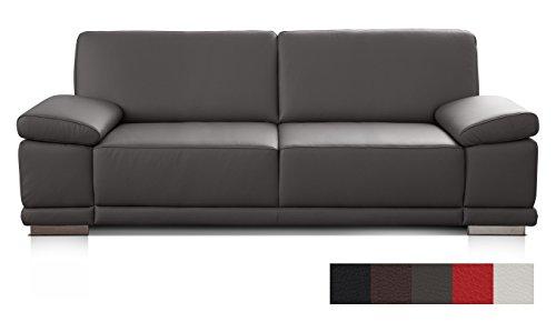 CAVADORE 3-Sitzer Sofa Corianne in Kunstleder/Leder-Couch in hochwertigem Kunstleder und modernem Design/Mit Armteilfunktion/Größe: 217 x 80 x 99 (BxHxT)/Bezug in Kunstleder grau (Leder Wohnzimmer Sofa)