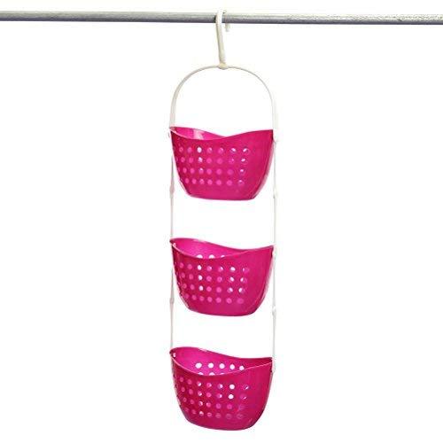 OUNONA 3 Tier Hanging Shower Caddy Basket Shelf Rack Kitchen Bathroom Storage Organizer (Rose Red)