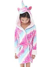 Dolamen Kinder Jungen Mädchen Morgenmantel Bademäntel Kapuzenpullover Korallenvlies Kigurumi Karikatur Nachtwäsche Nachthemd Schlafanzug