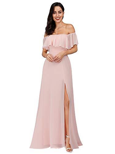 Ever Pretty Damen A-Linie Abendkleid schulterfrei Rosa 36