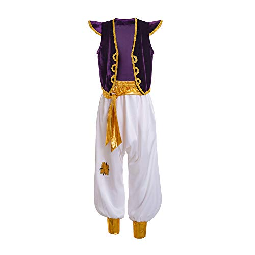 INGSIST Aladdin Street Rat Role Customer Arabian Prince Outfit Cosplay Party Suit for 7-8 Years Boy