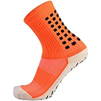 Chenqi 3 Pares Deportes Calcetines de fútbol Antideslizante Absorbente Transpirable Naranja