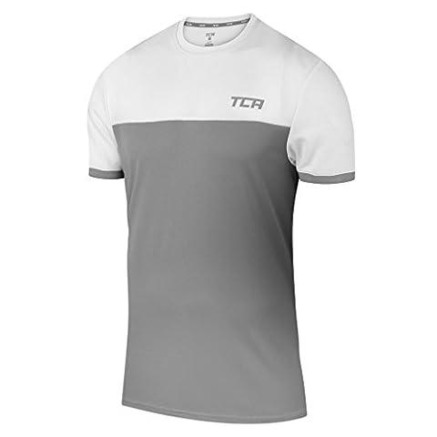 TCA Mens & Boys Aeron Slim Fit Training Top - Cool Grey / White, S