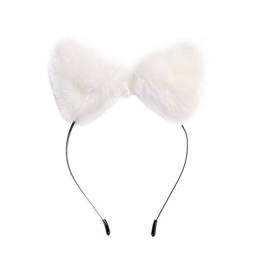 8Eninine Mädchen Pelz Fuchs Ohren Elastische Stirnbänder Haarbänder Cosplay Kopfschmuck Party - Weiß