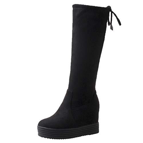 High Heels Overknee Stiefel Flach mit Schnürung Damen Schnür Stiefeletten Plateau Overkneestiefel Hoch Schwarz 39EU