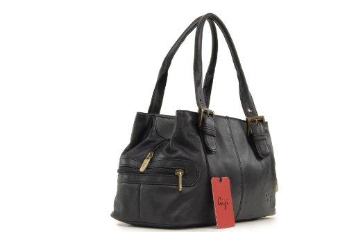 """Handtasche Leder """"Othello"""" von Gigi - GRÖßE: B: 30,5 cm, H: 17,5 cm, T: 13,5 cm Schwarz"""