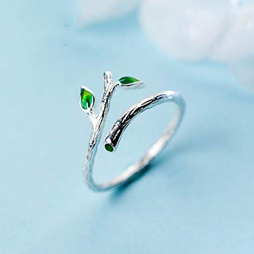 Hddwzh Woman Ring,Sterling Silber 925 Blatt Baum Zweig Öffnen Feine Ring Geschenk Für Frau Mädchen Finger Ringe Modeschmuck -