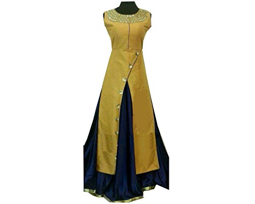 BigBen Textile women's semi-stitched cotton slik dress material (yellow)