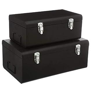 DEPOTMANIA Set de 2 Coffres Malles de Rangement en métal - Esprit Cantine - Coloris Noir