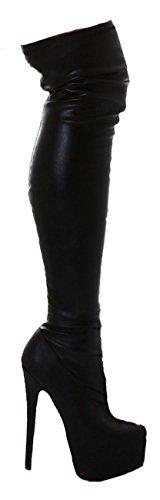 Jela London Overknee-Stiefel Boots mit Plateau Aus Kunstleder in Schwarz Gr. 36-41 39