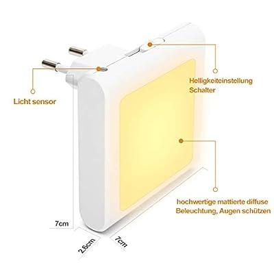 LED Nachtlicht Steckdose mit Dämmerungssensor, Opard Helligkeit Stufenlos Einstellbar Energiesparend Baby Licht Automatisch Orientierungslicht für Kinderzimmer Schlafzimmer, Warmweiß, 2 Stück von Opard