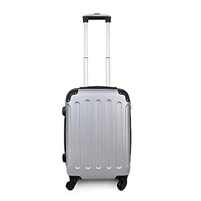 Todeco – Maleta De Mano, Equipaje de Cabina – Tamaño: 49 x 35 x 21 cm – Material: Plástico ABS – Esquinas protegidas, Llevar-en 51 cm, Plateado, ABS