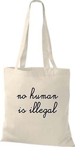 ShirtInStyle Stoff-beutel Baumwolltasche no human is illegal, kein Mensch ist illegal, Farbe Royal natur